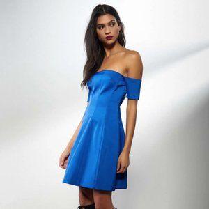 NWT Off Shoulder Seamed Satin Dress